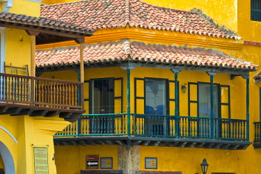 Colonial houses in the old town, Cartagena (UNESCO World Heritage Site) Bolivar Department, Colombia.