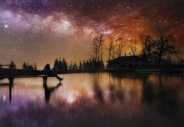 ITA15355AW Milky way reflection in a small lake of the central Appennines, Tuscany, Italy
