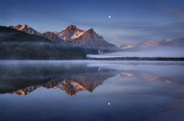 US13AMA0072 USA, Idaho. Moon setting. McGown Peak and Stanley Lake, Sawtooth Mountains.tranquil