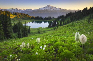 US48AMA0183 USA, Washington State. Image Lake and Glacier Peak seen from Miner's Ridge, Glacier Peak Wilderness North Cascades. Glacier Peak (10,541') or Dakobed is the most isolated of the five major stratovolca...