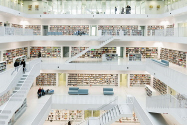 IBLDJS05111237 City library, interior view, architect Eun Young Yi, Stuttgart, Baden-Wurttemberg, Germany, Europe