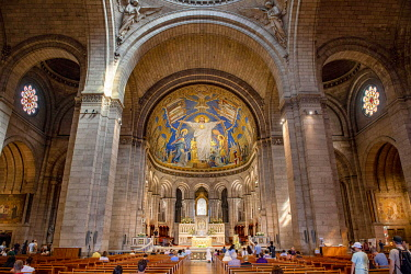IBLMAB05110298 Interior view with main altar and mosaic in the apse, Basilica Sacre-Coeur, Montmartre, Paris, France, Europe