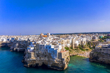 IBLMOX05129850 Aerial view of Polignano a Mare, Puglia, Southern Italy, Italy, Europe