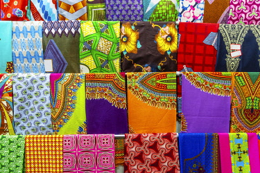 IBXESO05121617 Plenty of colorful African fabrics, Maputo, Mozambique, Africa