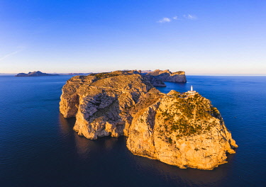 IBXMAN05124492 Cap Formentor with lighthouse in the morning light, Formentor peninsula, near Pollenca, aerial view, Majorca, Balearic Islands, Spain, Europe