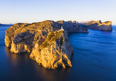 IBXMAN05124495 Cap Formentor with lighthouse in the morning light, Formentor peninsula, near Pollenca, aerial view, Majorca, Balearic Islands, Spain, Europe