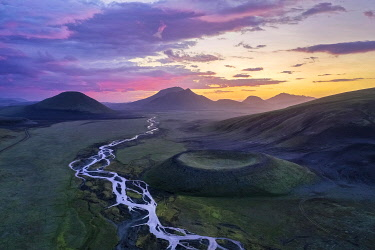 Aerial view, volcanic crater, interlaced river, Landmannalaugar region, Icelandic highlands, Iceland, Europe