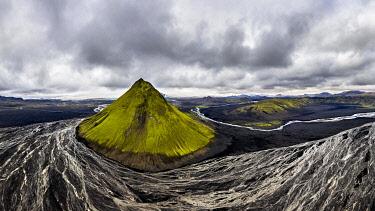 IBXROH05122902 Aerial view, Maelifell mountain covered with moss, Maelifell, black sand desert Maelifellssandur, behind glacier Myrdalsjokull, Icelandic highlands, Iceland, Europe