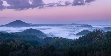 CZE2124AW Ruzovsky vrch hill around fog and Jetrichovice at sunrise, Rynartice, Jetrichovice, Okres Decin, Ustecky kraj Province, Bohemian Switzerland National Park, North-Western Czech Republic, Czech Republic