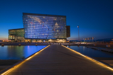 ICE42362AW Illuminated Harpa Concert Hall and Conference Center at night, Reykjavik, Iceland