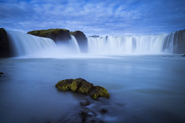 ICE42363AW Beautiful Godafoss waterfall against cloudy sky, Northern Iceland, Iceland