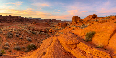 USA15345AW Panoramic view of red rocks at White Domes area before sunset, Valley of Fire State Park, Nevada, Western United States, USA
