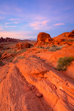 USA15346AW Red rocks at White Domes area at sunset, Valley of Fire State Park, Nevada, Western United States, USA