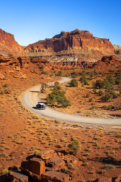 USA15372AW Car driving on dirt road and Whiskey Flat seen from Panorama Point, Capitol Reef National Park, Utah, Western United States, USA