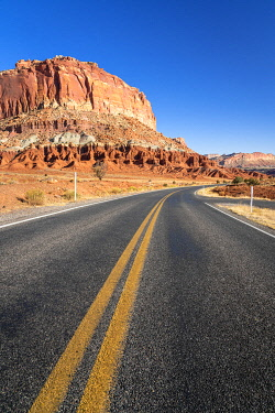 USA15377AW Utah State Route 24 by Whiskey Flat rock formation, Capitol Reef National Park, Utah, Western United States, USA