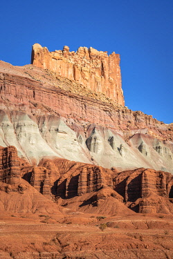 USA15380AW Low angle view of The Castle rock formation, Capitol Reef National Park, Utah, Western United States, USA