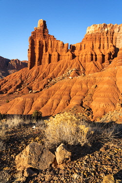 USA15386AW Low angle view of Chimney Rock, Capitol Reef National Park, Utah, Western United States, USA