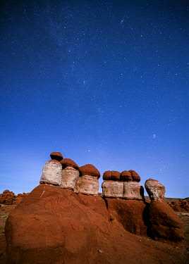 USA15404AW Milky way above rock formations at Little Egypt, Utah, Western United States, USA