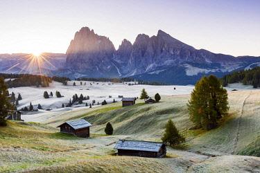 ITA15401AWRF Sunrise at Seiser Al, Alpe di Siusi, Dolomites, Veneto, Italy, Europe