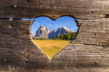 ITA15411AWRF Heart at Seiser Alm Alpe di Siusi, Dolomites, Veneto, Italy, Europe