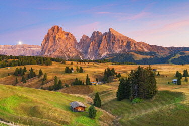 ITA15384AW Moon Rising, Seiser Alm,Alpe di Siusi, Dolomites, Veneto, Italy, Europe