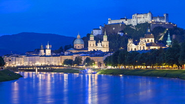 AUT1013 Hohensalzburg Fortress, Salzburg Altstadt, Salzburg Cathedral, Kollegienkirche, Salzburg and the Salzach river at twilight, Andraviertal, Salzburg, Austria.