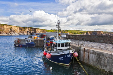 IRL1147 Fishing boats in Strand Beash Harbour,� Dunbrattin Head, The Copper Coast, County Waterford,�Munster, Ireland.