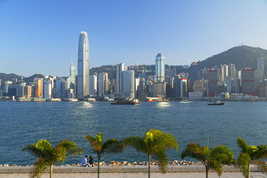 CH12398AW Skyline of Hong Kong Island from West Kowloon Art Park, Kowloon, Hong Kong