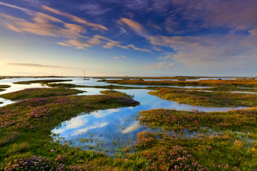 ENG16743AW Brancaster  Salt Marsh Reflections, Branscater, Norfolk, England
