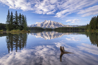 CAN3608AW Mount Rundle reflected in Two Jack Lake, Banff National Park, Alberta, Canada.