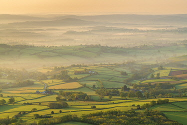 WAL7762AW Rolling countryside at dawn, Brecon Beacons National Park, Powys, Wales, UK