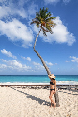 CLKAB129404 Woman with hat have relax under the palm tree, Bottom Bay, Barbados Island, Lesser Antilles, West Indies