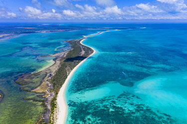 CLKVV129032 Aerial view of Pink Sand Beach and crystal sea, Barbuda, Caribbean