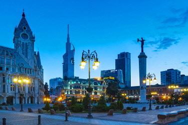 CLKGM128149 Europe square at twilight in the center of the city. Batumi, Agiara region, Georgia.