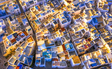 CLKFB124677 Aerial view of the traditional roofs of Polignano a Mare, Apulia, Italy