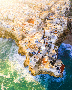 CLKFB124678 Aerial view of the traditional roofs of Polignano a Mare, Apulia, Italy