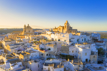 CLKFB124826 Aerial view of the old town of Ostuni at sunset, Apulia, Italy