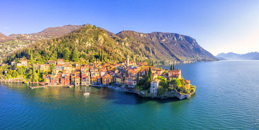 CLKFB125356 Panoramic aerial view of Varenna, Como Lake, Lombardy, Italy