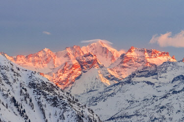 CLKGM127966 The massif of Gran Paradiso during a winter sunset from Point Helbronner Skyway. Courmayeur, Aosta valley, Alps, Italy