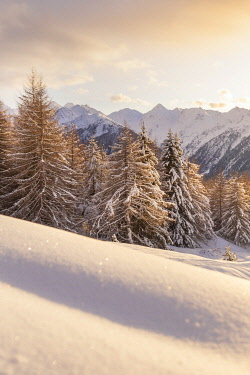 CLKGM129394 Winter landscape after snowfall in mountains.Trivigno, Aprica pass, Valtellina, Sondrio district, Alps, Lombardy, Italy