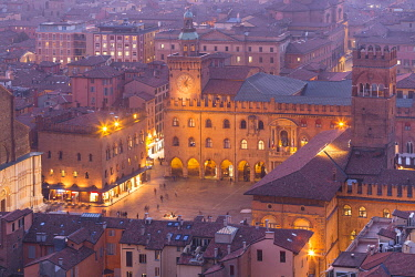CLKGM130111 Maggiore square in Bologna old town from Asinelli tower during twilight. Bologna, Emilia Romagna, Italy