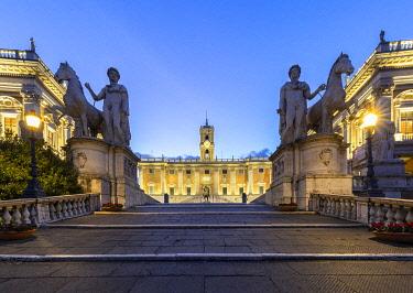 CLKMC120607 View of steps called Cordonata, leading to the the Capitoline Hill, Capitoline Square and Palazzo Senatorio just before dawn. Rome, Rome district, Lazio, Italy.