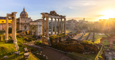 View of the ruins of Fori Imperiali from the Campidoglio at dawn. Rome, Rome district, Lazio, Italy.