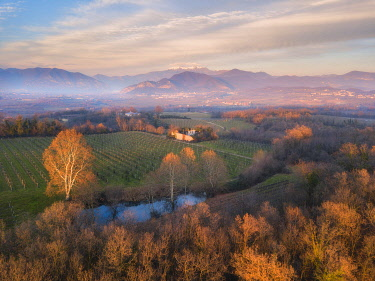 CLKMR126602 Franciacorta aerial view in Brescia province, Lombardy, Italy