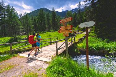 CLKMR126792 Pair of hikers on the Brescia trails, Valle Camonica, Ponte di Legno, Brescia province, Lombardy, Italy