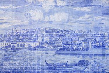 CLKDC122757 Close up of Azulejos decorations at Miraduro de Santa Luzia (St Lucy viewpoint), Alfama Neighborhood, Lisbon, Lisbon Metropolitan Area, Portugal