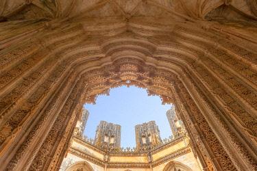 CLKDC124258 The main portal of the Unfinished Chapels (Capelas Imperfeitas) in Batalha Monastery (Mosteiro da Batalha), Batalha municipality, Leiria district, Estremadura province, Portugal.