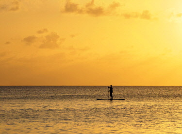 CYI1117AW Stand up paddle along Seven Mile Beach at sunset, George Town, Grand Cayman, Cayman Islands