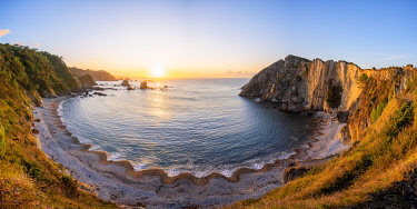CLKAC128428 Playa del Silencio (beach of silence) at sunset. Castaneras, Asturias, Spain