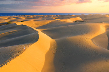 CLKAC129812 Tourist walking on sand dunes at sunset. Maspalomas, Las Palmas, Gran Canaria, Canary Islands, Spain